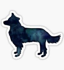 Border Collie Dog Breed Black Watercolor Silhouette Sticker