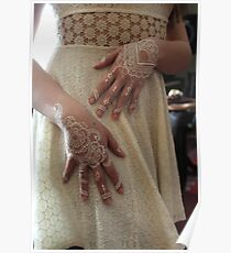 White Floral Henna  Poster