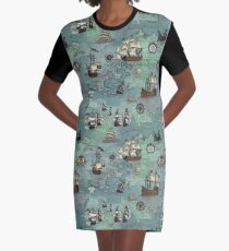 Pirate Map Nautical Sea Print Graphic T-Shirt Dress