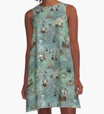 Pirate Map Nautical Sea Print A-Line Dress