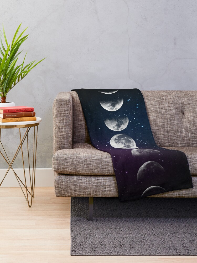 Alternate view of Phases of the Moon Throw Blanket