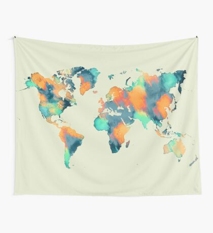 world map 57 Wall Tapestry