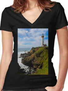 Pigeon Point Lighthouse Women's Fitted V-Neck T-Shirt