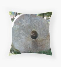 Old mill stone Throw Pillow