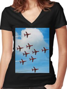 Red Arrows Flanker Bend Women's Fitted V-Neck T-Shirt