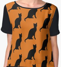 Halloween Black Cat Smooth Silhouette Chiffon Top