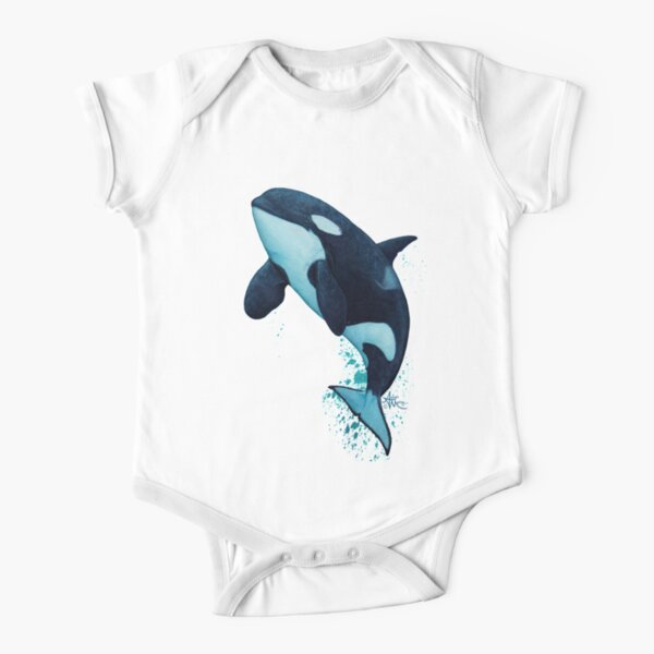 """""""The Matriarch"""" by Amber Marine ~ killer whale / orca watercolor painting, (J2 Granny) art © 2016 Short Sleeve Baby One-Piece"""