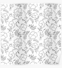 Hand drawn delicate decorative vintage seamless pattern with blossom flowers Poster
