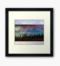 Starry Night Sky above country home Framed Print