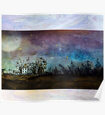 Starry Night Sky above country home Poster