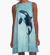 """The Matriarch"" ~ killer whale / orca watercolor painting (J2 Granny) by Amber Marine A-Line Dress"