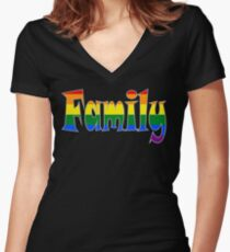 Rainbow Family Gay / lesbian Interest - from Bent Sentiments Women's Fitted V-Neck T-Shirt