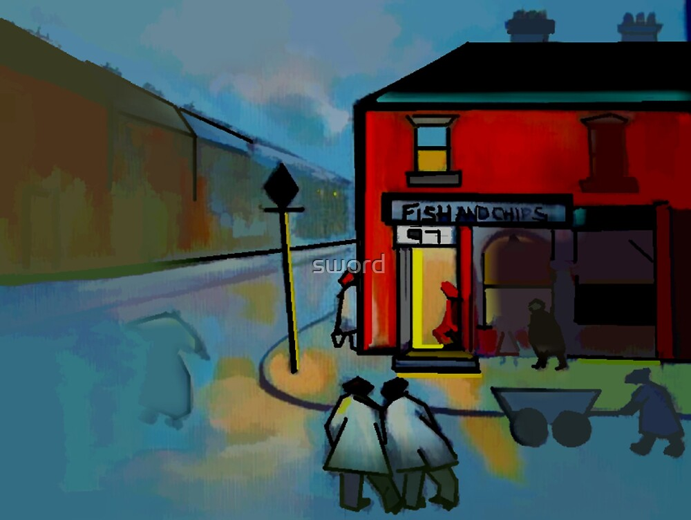 The fish and chip shop digitally enhanced from my  original acrylic painting by sword