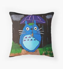 In the Rain with Totoro Throw Pillow