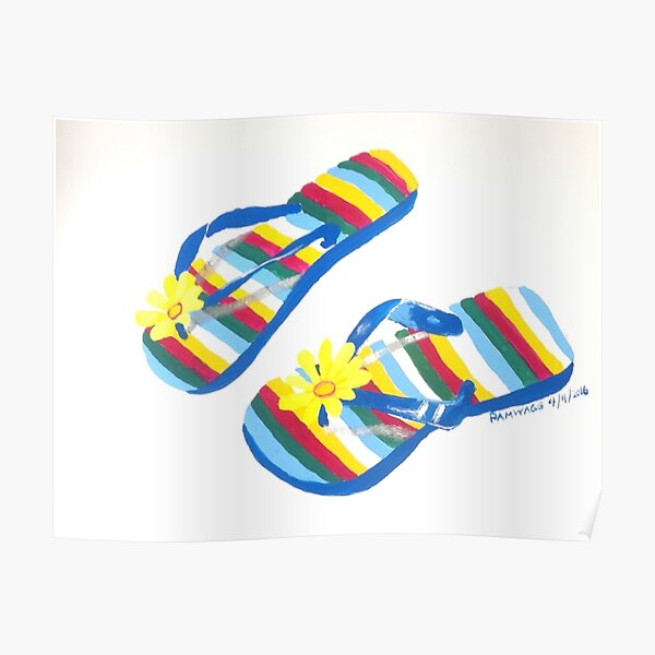 Striped Flowered Flip Flops Poster