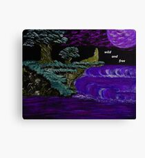 Wolf on a blue clouded night Canvas Print