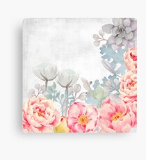 Early Morning with Roses and all Flowers Canvas Print