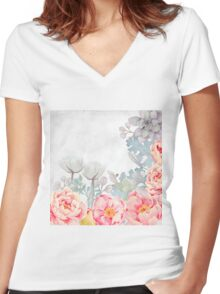 Early Morning with Roses and all Flowers Women's Fitted V-Neck T-Shirt