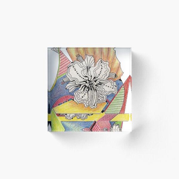 Flower Drawing Acrylic Block