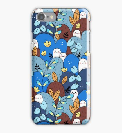buddy pattern blue + brown iPhone Case/Skin