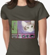 Save Me kitty Womens Fitted T-Shirt
