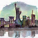 New York City Skyline Watercolour by Vittorio Magaletti