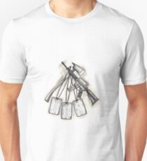 Crossed Fire Ax and M4 Rifle Dog Tags Tattoo T-Shirt