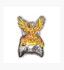 Phoenix Rising Over Burning Game Controller Tattoo Photographic Print