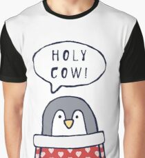 "Funny penguin says ""Holy cow!"" Graphic T-Shirt"
