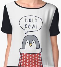 "Funny penguin says ""Holy cow!"" Women's Chiffon Top"