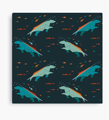 Nordic Bears in Scandinavian Design Style #3 Canvas Print