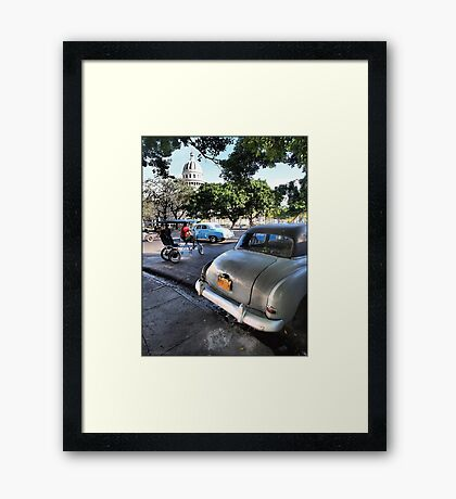 Taxis Near El Capitolio Framed Print
