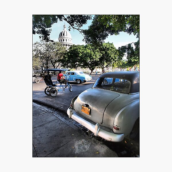 Taxis Near El Capitolio Photographic Print