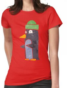 retro cartoon penguin wearing hat Womens Fitted T-Shirt