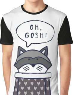 """Funny raccoon says """"OH, GOSH!"""" Graphic T-Shirt"""