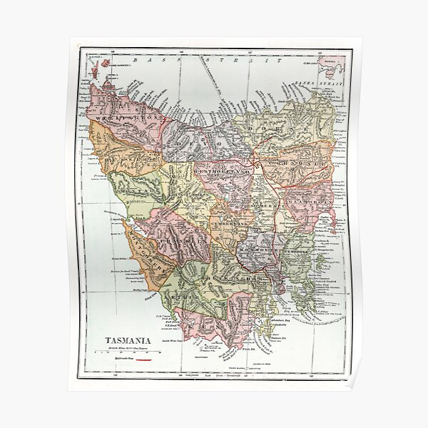 Vintage Map of Tasmania Poster