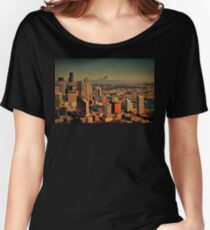 USA. Seattle. Downtown & Mount Rainier. Women's Relaxed Fit T-Shirt