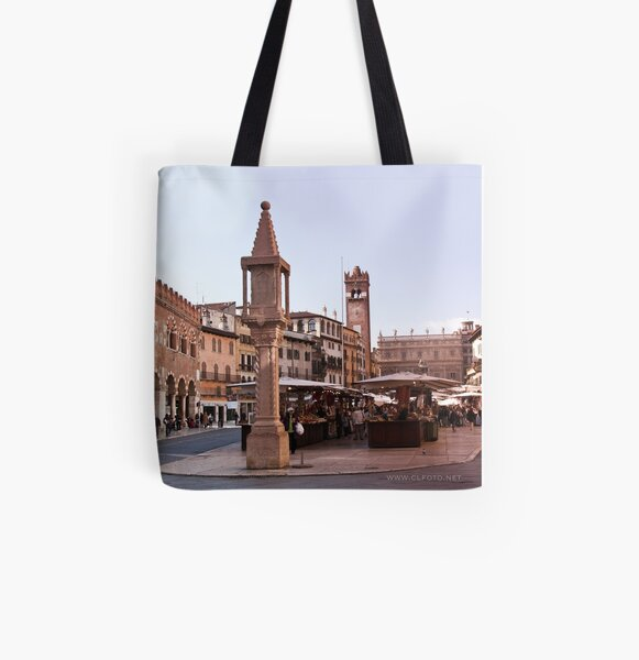 In Piazza Erbe, Verona, Italy All Over Print Tote Bag