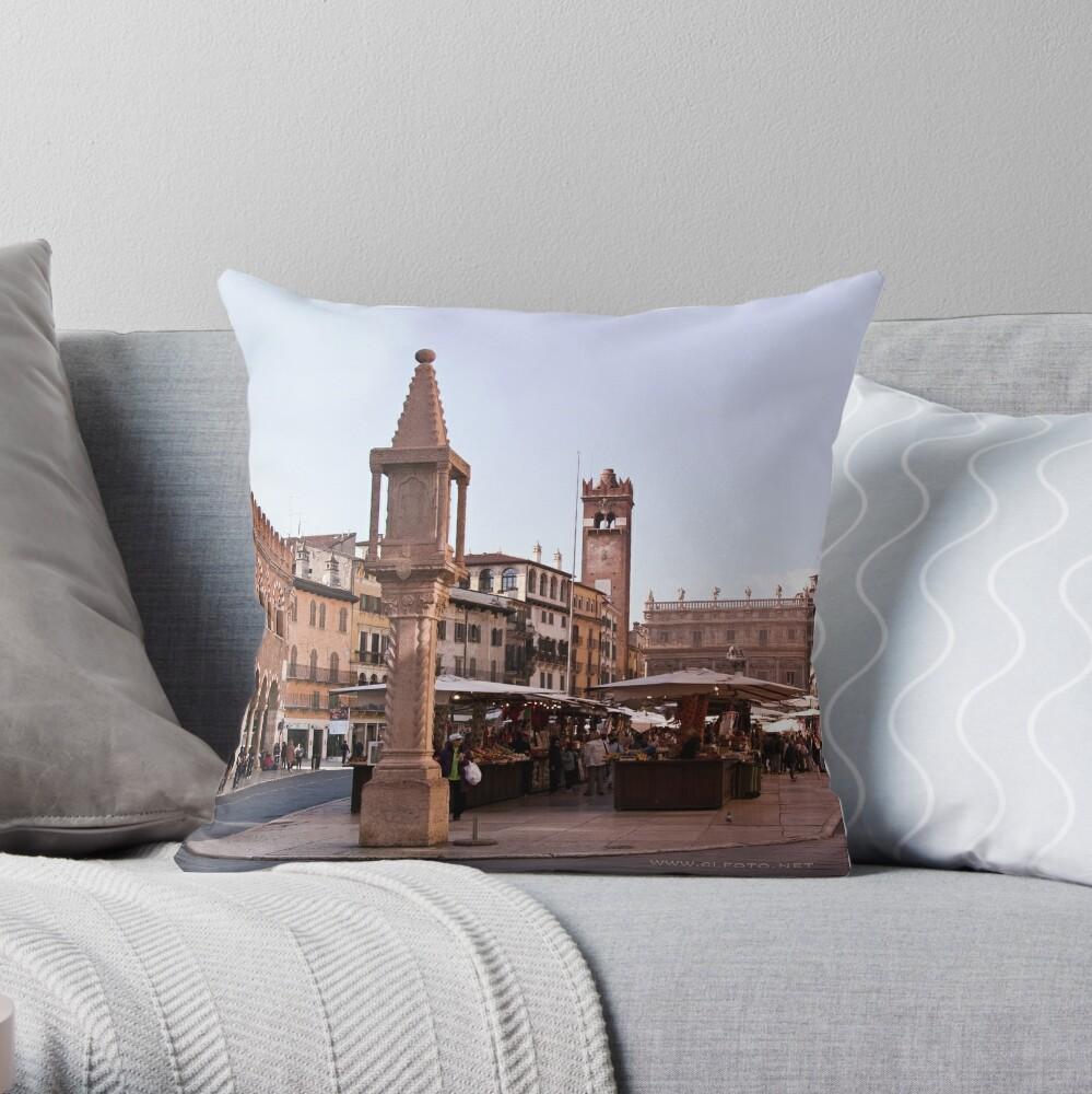 In Piazza Erbe, Verona, Italy Throw Pillow