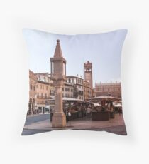 In Piazza Erbe, Verona, Italy Throw Pillow