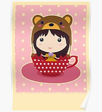Girl in teacup Poster