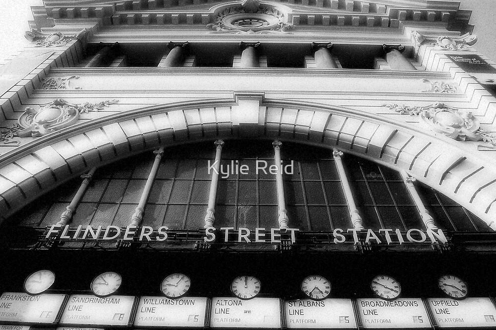 Flinders Street (in black & white) by Kylie Reid