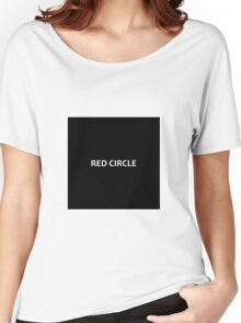Red circle on black square Women's Relaxed Fit T-Shirt