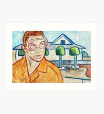 Man with Safety Goggles in Front of Well-Maintained Home Art Print