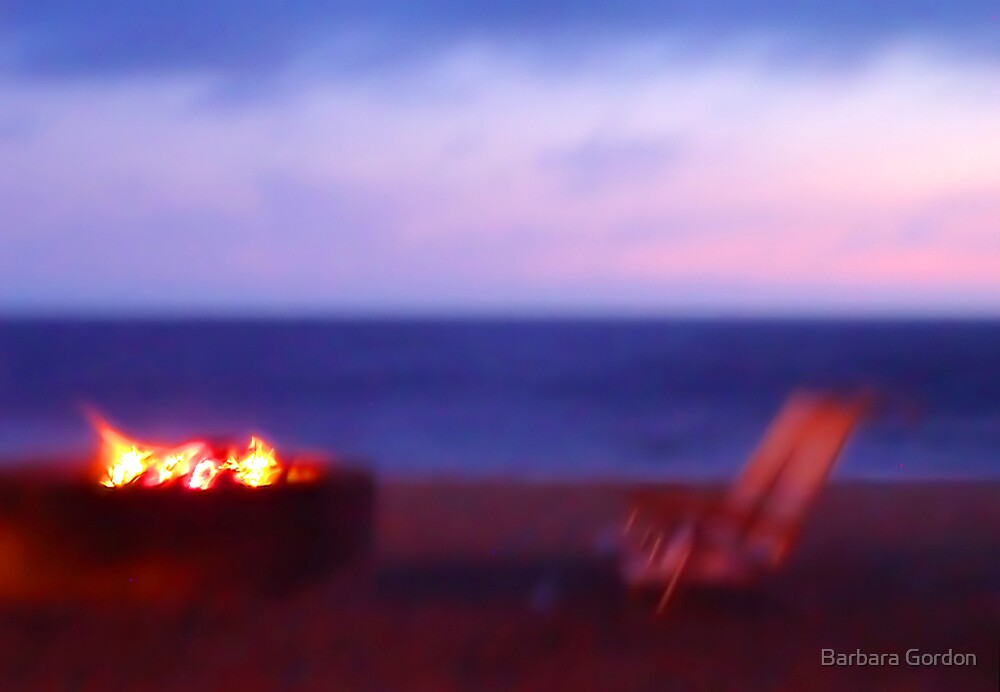 Beach Chairs & Firepit by Barbara Gordon