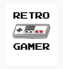 Retro Gamer with Controller Photographic Print