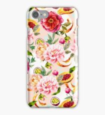 Pattern flowers and tropical fruits iPhone Case/Skin