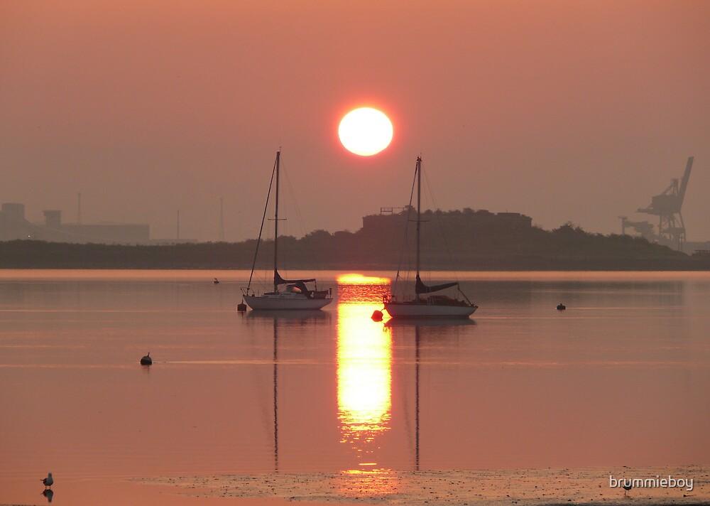 Yachts at dawn by brummieboy