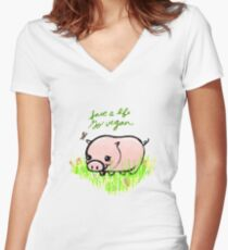 Save a Life - Piggy with Flowers #GoVegan Women's Fitted V-Neck T-Shirt