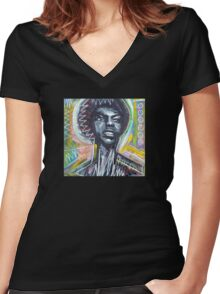 Nina Simone Painting Women's Fitted V-Neck T-Shirt